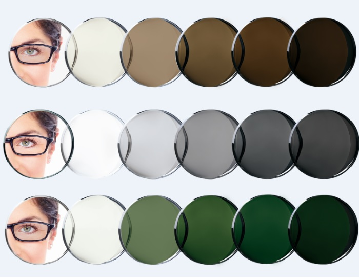 transition lenses in 3 colours